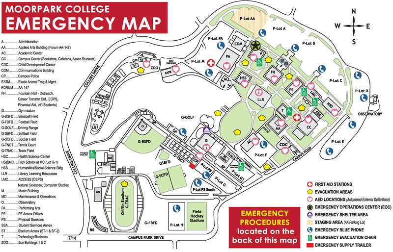 oxnard college campus map Emergency Response Map Moorpark College oxnard college campus map