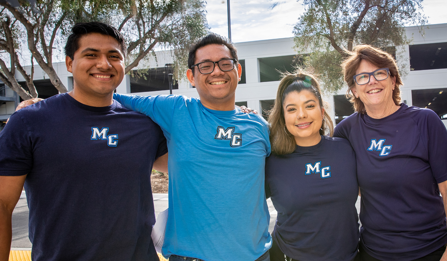 Group Photo of individuals at Moorpark College, wearing matching MC Shirts