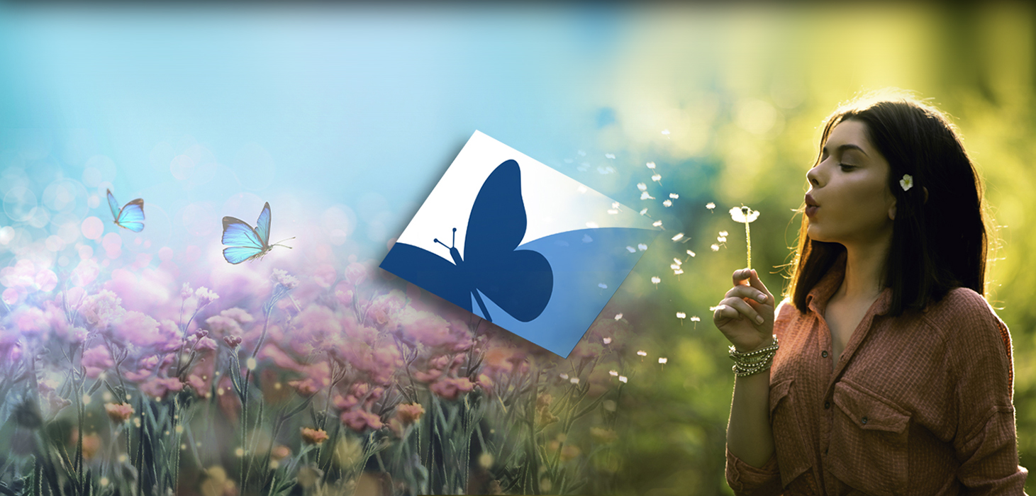 A woman blows apart a dandelion into the wind into a field of butterflies behind Dream logo