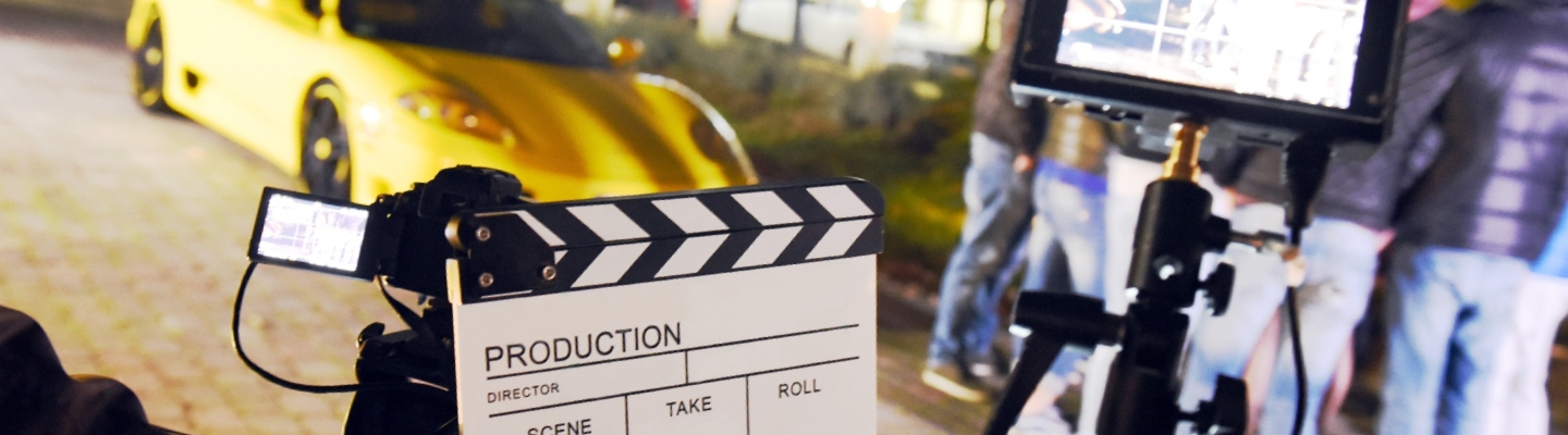 close up of a clapboard on a movie scene