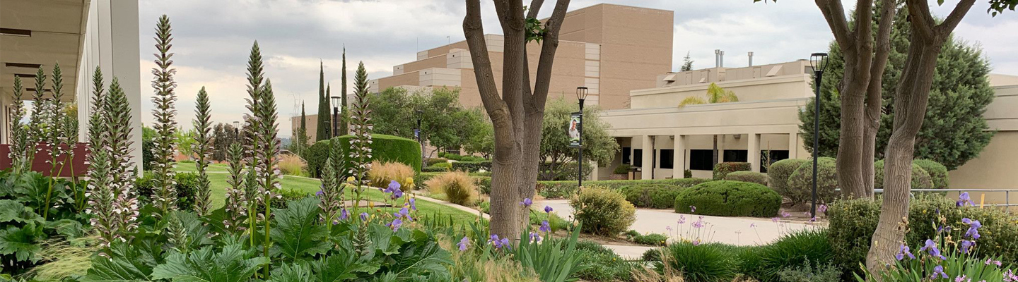 Moorpark Campus with flowers and trees in front of a building