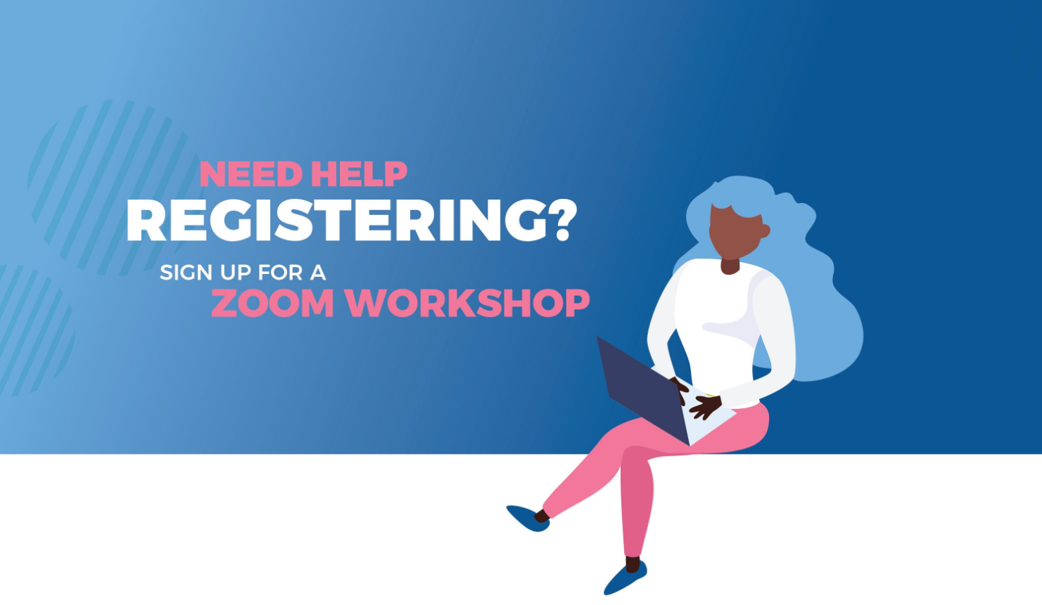 Illustration of a Female Student on a Laptop, participating in a Registration Workshop on Zoom