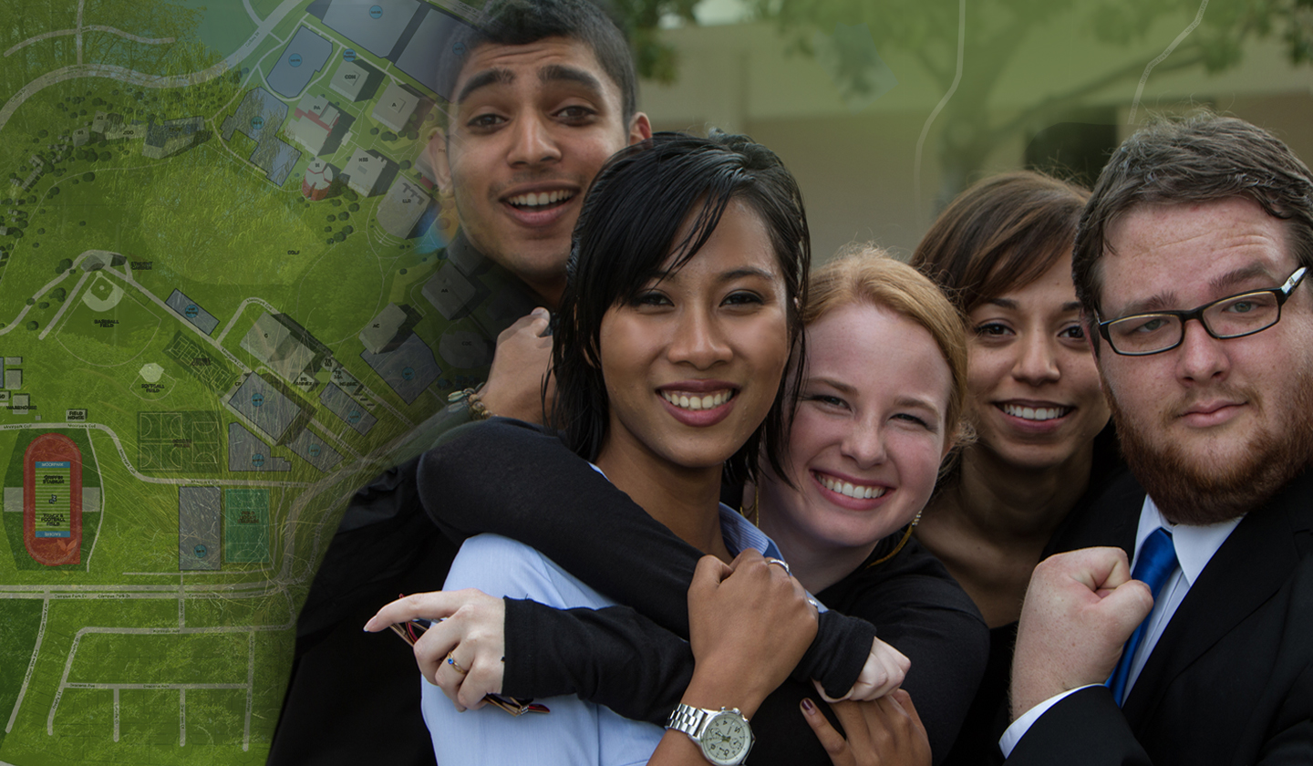 Image of a diverse group of students with a fade of the campus map on the side