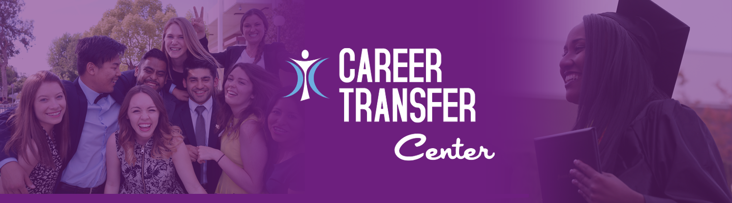 Students share a purple space with Career Transfer Logo