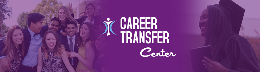 Career Transfer Logo imposed over female grad and group of students in field of purple