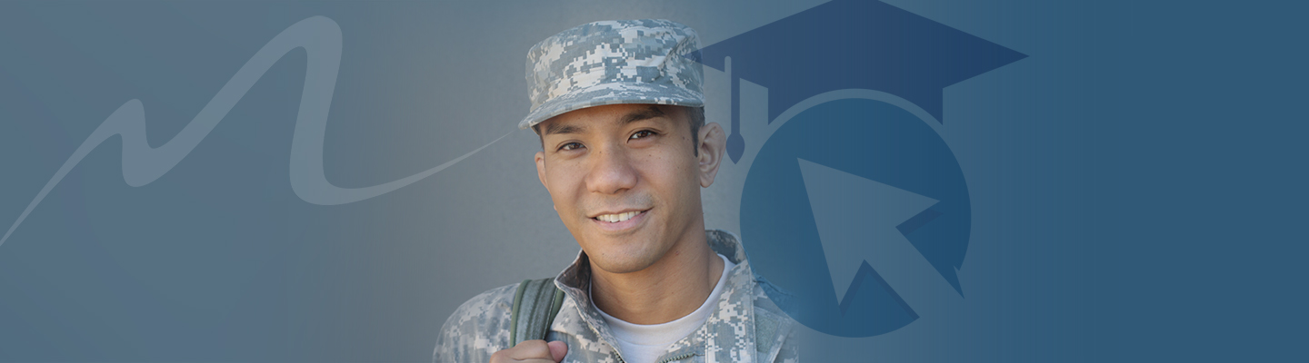 A veteran smiles in a field of blue with screened back cap image behind him