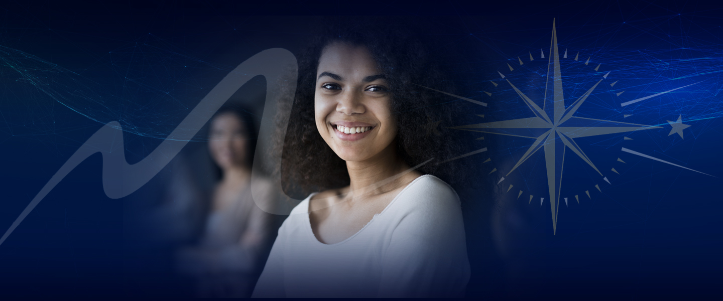 Woman of color smiles amongst peers with compass superimposed