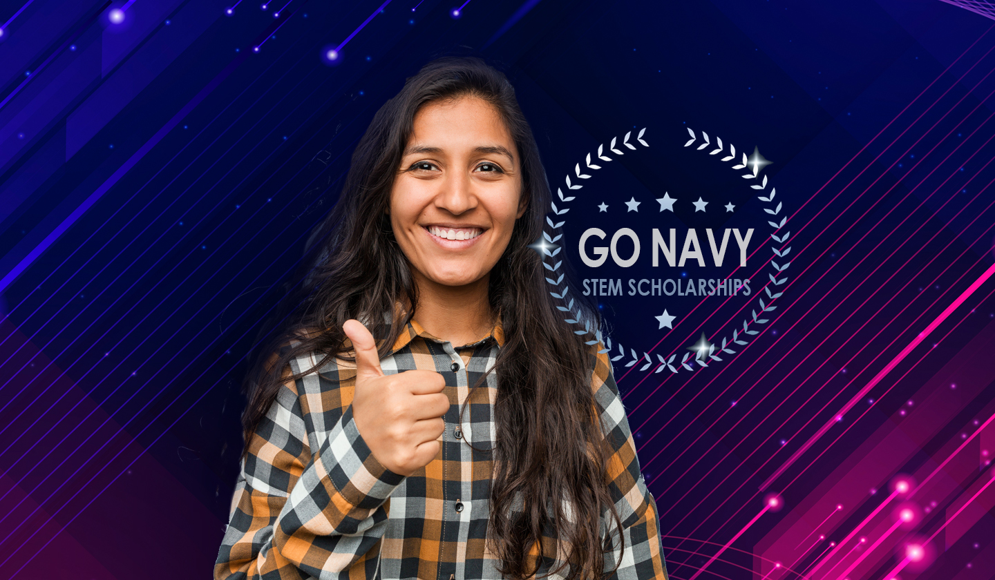 Photo of Student with Text that reads GO NAVY