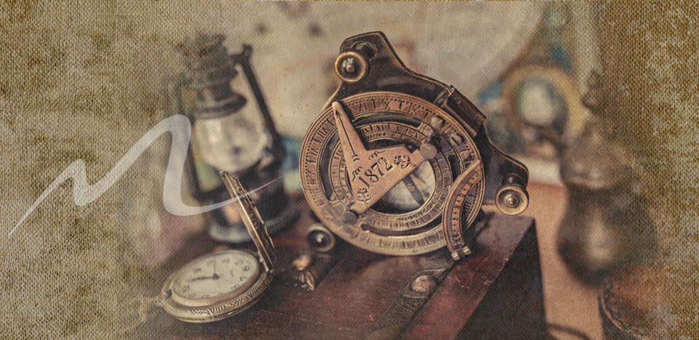 very old Compass and telescope over vintage canvas background to denote ancient times