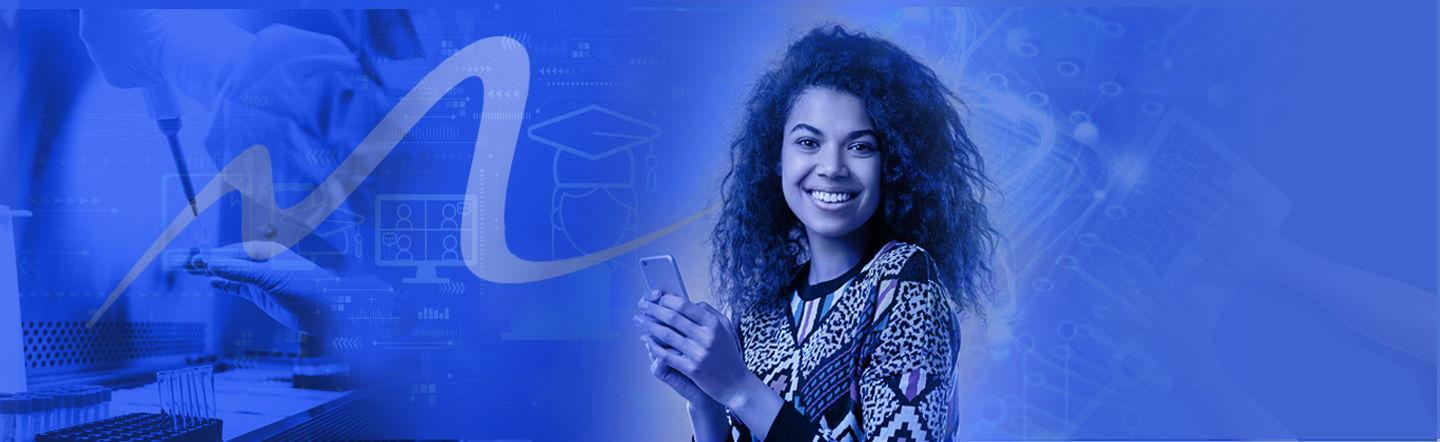 Hispanic girl in field of blue technology on mobile phone smiles at camera