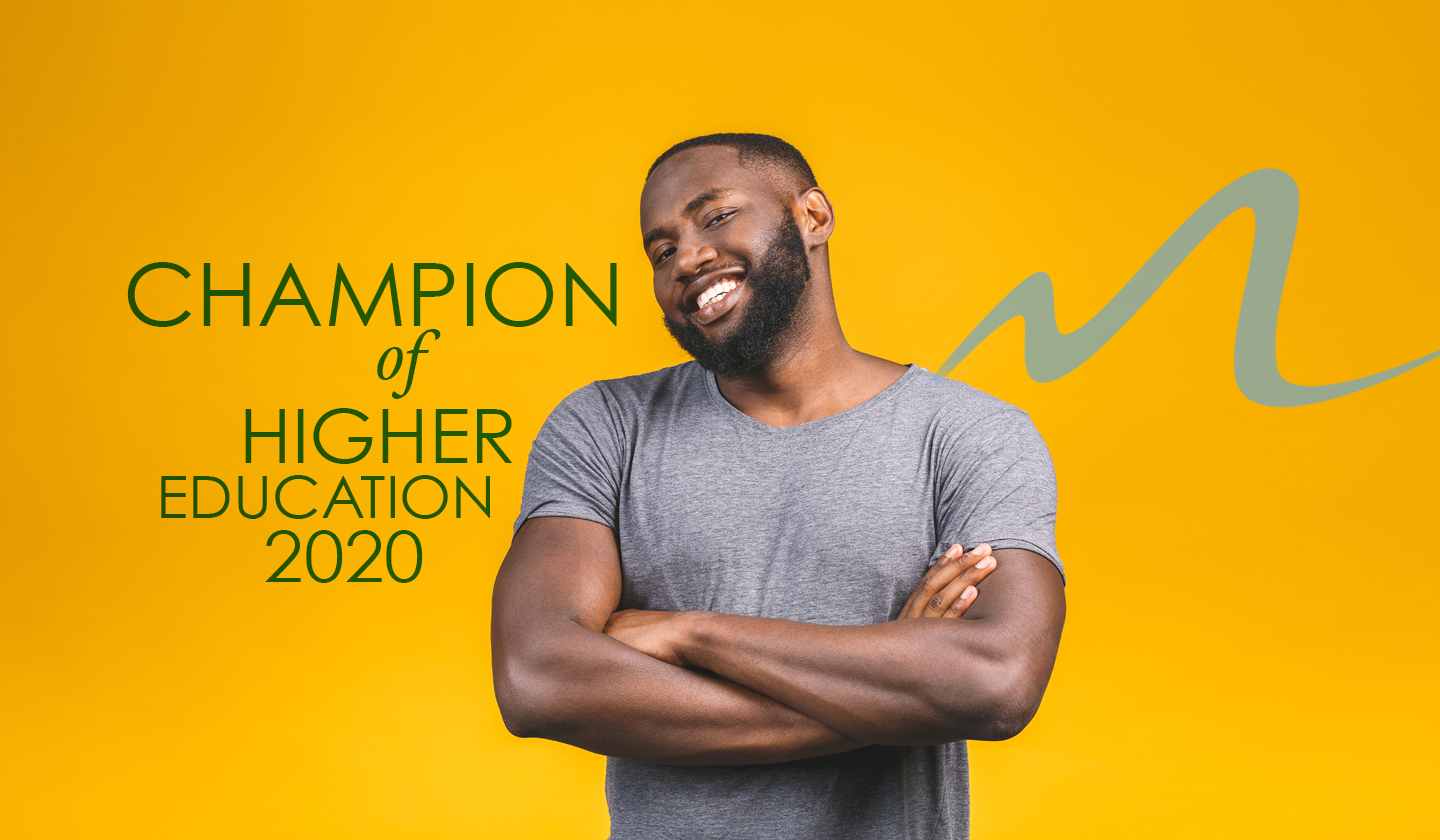 "African American Male next to Stylized ""M"", with text that reads, Champion of Higher Education 2020"