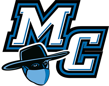 Moorpark College logo in blue and black, with raider mascot in a mask