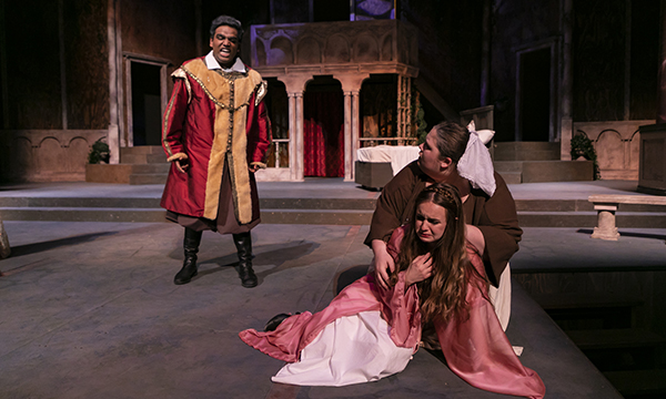 Three theater students from a production of Romeo and Juliet.