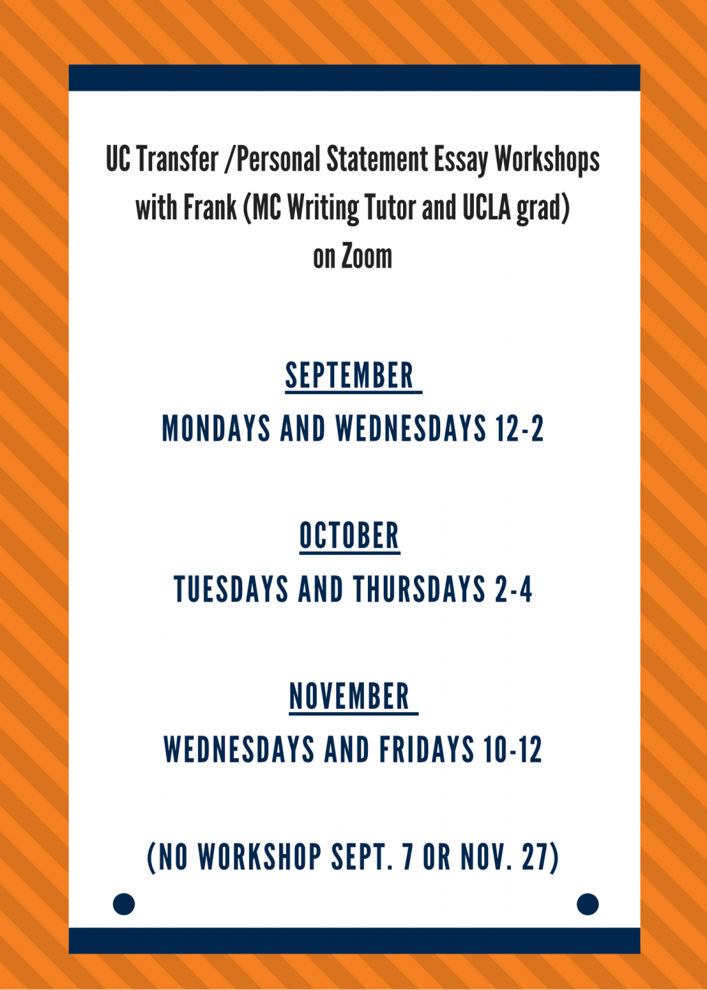 transfer essay workshop schedule