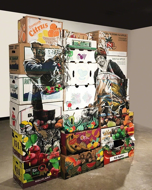 Premium Harvest (side 2), 2017  Ink, Gouache, Charcoal, and Collage on Produce Cardboard Boxes 70 x 65 x 19.5 Inches