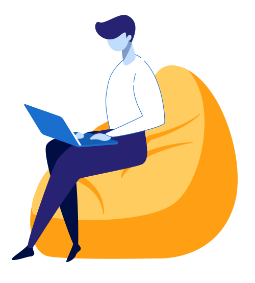 cartoon man sitting on yellow fluffy chair on his computer