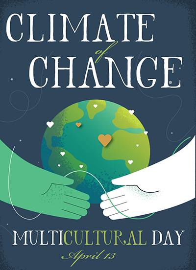hands holding the earth with climate of change title