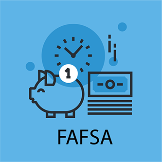 Illustrative elements in blue filed representing FAFSA