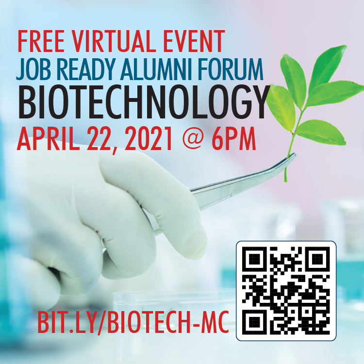 Gloved Hand holding plant for Biotech Alumni Forum