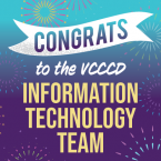 Graphic with text that reads: Congrats to the VCCCD Informat