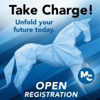 Take Charge! Unfold your Future today. MC logo. Open Registration.