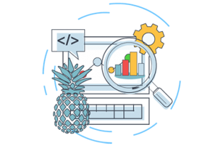 Business icons including pineapple