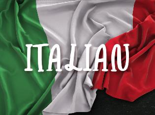 "italian flag with the word ""Italian"" across the flag"