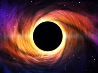 Visual representation of a black hole in the universe.