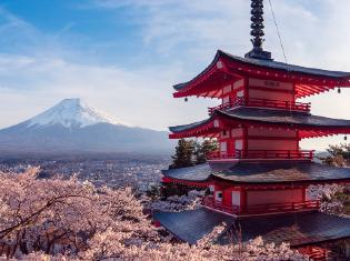 Japanese pagoda with Mt Fuji in the background