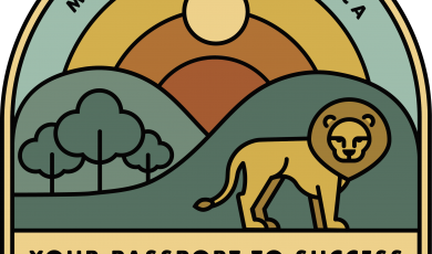 Illustrated patch featuring a lion, trees, a rainbow, and text that reads: Moorpark College, CA Your Passport to Success Career Week 2021