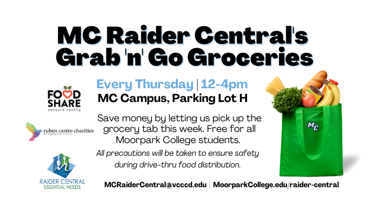 Raider Central Grab and Go free grocery distribution on Thursdays at 12pm until 4pm in the Field Hockey lot.