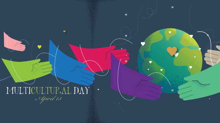 Multicultural Day 2021 is on  April 13; colorful hands embrace the Earth