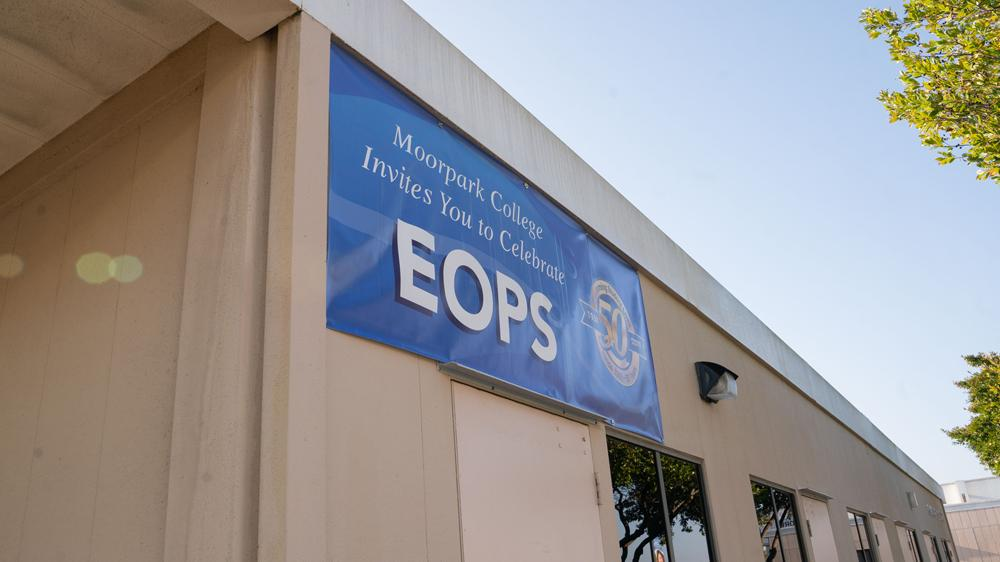 EOPS sign on Student Services Annex building